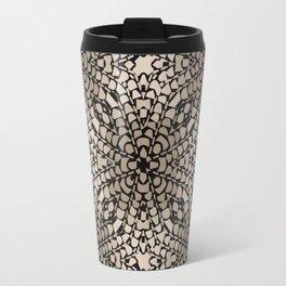 Black and Tan Geometric Modern Chrysanthemum Pattern Travel Mug