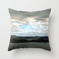 sweden Throw Pillows featuring lake sweden. by zenitt