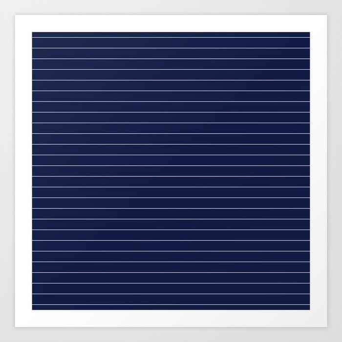 Navy Blue Pinstripe Line Stripe Minimal Stripes Lines Kunstdrucke