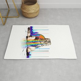 Psychedelic Vaporwave Catzilla with rainbow lasers from eyes print Rug