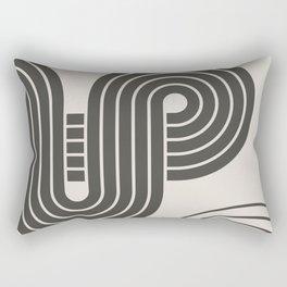 Beige Black Geometric Abstract Lines Rectangular Pillow