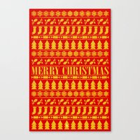 merry christmas Canvas Prints featuring Merry Christmas by Fimbis