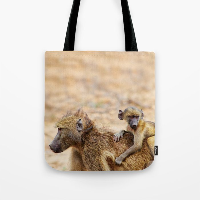 Cute monkey baby and mother Tote Bag
