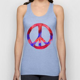 Patriotic Peace Sign Tie Dye Watercolor Unisex Tank Top