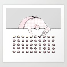 Cupcake decorating! Art Print
