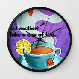 Paragliding: Take a cup of tea Wall Clock
