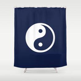 Navy Blue Yin Yang Minimal Shower Curtain