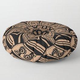 Beige and Black Geometric Mandala Floor Pillow