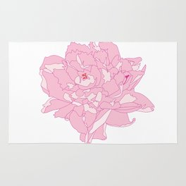 Pink and White Peony Flower Summer Garden Illustrated Print Rug