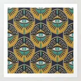 Tribal Evil Eye Pattern Art Print