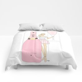 Rose Champagne Fashion Girl Blonde Comforters