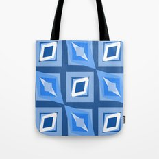 Blue and White Abstract Tote Bag