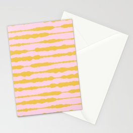 Macrame Stripes in Mustard Yellow and Light Pink Stationery Cards