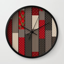 Country motifs . Classic quilting. Wall Clock