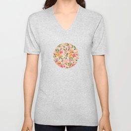 Golden Flitch (Digital Vintage Retro / Glitched Pastel Flowers - Floral design pattern) Unisex V-Neck