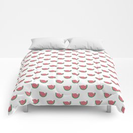 Watermelon - Summer Doodle Pattern in Pink and Green on White Background Comforters