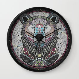 Neon Tribal Bear Wall Clock