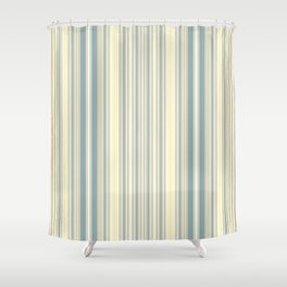 Seafoam Green Yellow Stripes Shower Curtain