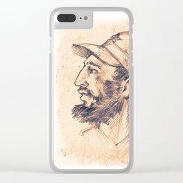 Portrait of Fidel Castro. Cuban politician, revolutionary, president of Cuba. Clear iPhone Case
