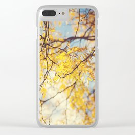 Gold Leaves and Blue Sky Clear iPhone Case