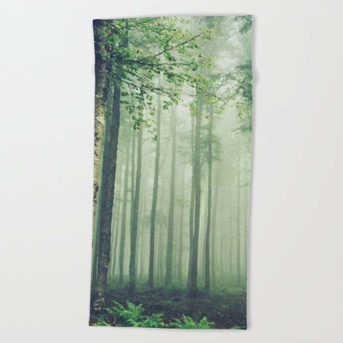 Foggy Woods Beach Towel