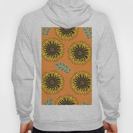 Bright Sunflowers  -  Pattern, Orange Hoody