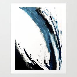 Reykjavik: a pretty and minimal mixed media piece in black, white, and blue Art Print