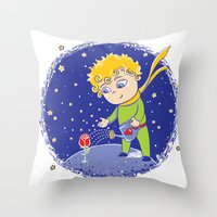 little prince Throw Pillows featuring Little Prince by Bruna Sousa