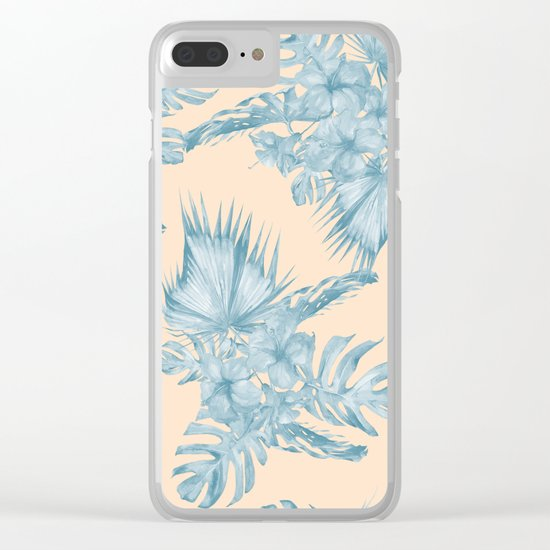 Tropical Flowers and Leaves Blue on Peach Coral Clear iPhone Case