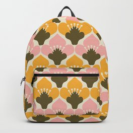 Yellow & Pink Flower Pattern Backpack