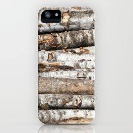 striped birch trunks iPhone Case