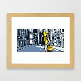 Girl Walking On London Street Framed Art Print