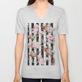 Bold pink watercolor roses floral black white stripes Unisex V-Neck
