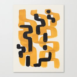 Mid Century Modern Abstract Yellow Black Mustard Funky Wiggle Pattern Canvas Print