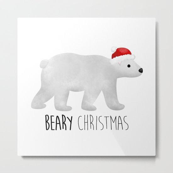 Beary Christmas | Polar Bear Metal Print
