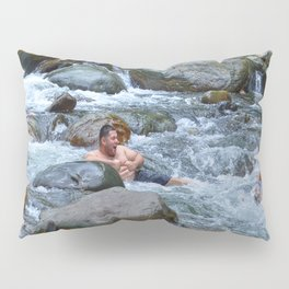 Brothers in harmony in the powerful Mameyes River - El Yunque rainforest PR Pillow Sham