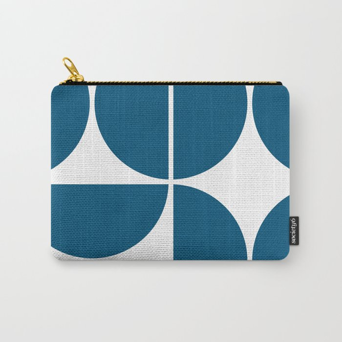 Mid Century Modern Blue Square Carry-All Pouch