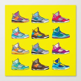 Colorful Sneaker set yellow illustration original pop art graphic print Canvas Print