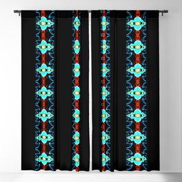 Neon Blue and Red Striped Fractal Blackout Curtain