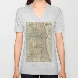 Vintage Map of Chicago (1857) Unisex V-Neck
