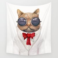 wes anderson Wall Tapestries featuring Astro Cat by Animal Crew