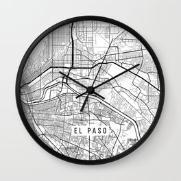 El Paso Map, USA - Black and White Wall Clock