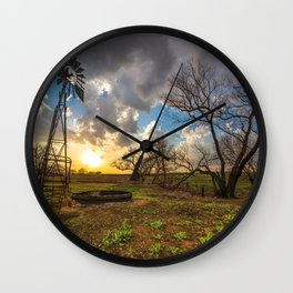 Twilight - Charred Landscape Comes Back to Life at Sunset in Kansas Wall Clock