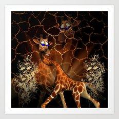 Funny, cool giraffe Art Print