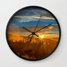 Misty Gold Mountain Sunset Wall Clock