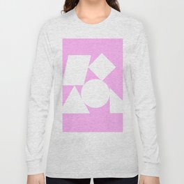 White shapes on a bubblegum background Long Sleeve T-shirt