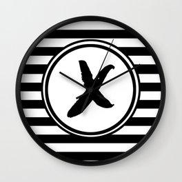 X Striped Monogram Letter Wall Clock