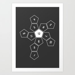 Grey Unrolled D12 Art Print