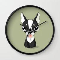french bulldog Wall Clocks featuring French Bulldog by Freeminds