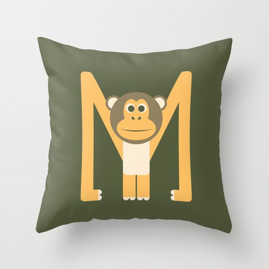Letter M // Animal Alphabet // Monkey Throw Pillow